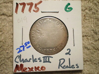 1775 2 Reales Mexico Charles Iii/ .903 Silver .1965 Asw