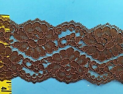 "Double Scalloped Lace Trim Edging Embroidered Flat Lace Trim 2/"" Blue 5 yds #B23"