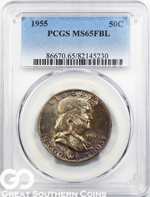 1955 PCGS Franklin Half Dollar, Full Bell Lines, PCGS MS 65 FBL ** Deep Toning!