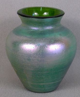 """Unknown Antique Green Iridescent Art Glass 3 3/4"""" Vase with Purple Highlights"""