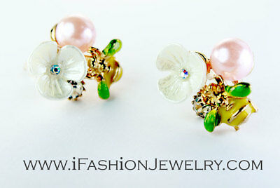 Yellow Bee White Flower Earrings 3D Cute Gold Bug Insect Pink Pearl Stud Jewelry