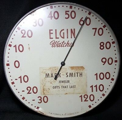 ELGIN WATCHES Advertising Thermometer Jeweler Sign Clock Dealer Watchmaker Omega