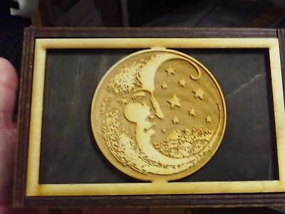 """Made in the USA!  """"MOON & STARS"""" STORAGE WOOD BOX-NEW & NEVER BEEN USED"""