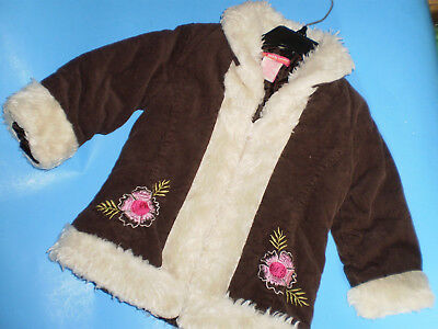 Teddy Boom Baby Toddler  Girl  Brown  Coat w/Faux Fur Size 18 m  Nice