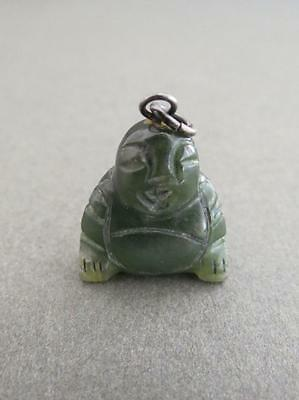 Vintage Chinese Carved Jade Silver Buddha Pendant