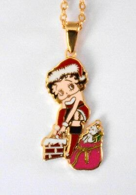 "Betty Boop Christmas Necklace / 17"" Gold-tone Chain / Betty Boop Santa"