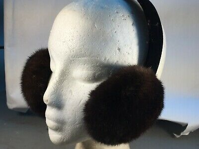 AUTHENTIC NEW BLUE IRIS  COLOR  FUR MINK EARMUFFS Finest skins Great prices