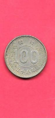 Japan Japanese Y78 1963 Vf-Very Fine-Nice Old Vintage Silver 100 Yen Coin