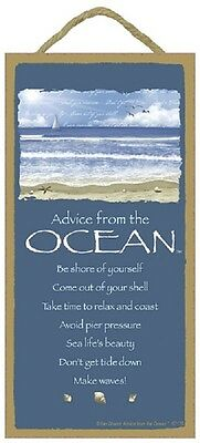 ADVICE FROM THE OCEAN wood INSPIRATIONAL SIGN wall NOVELTY PLAQUE Sea Sailor NEW