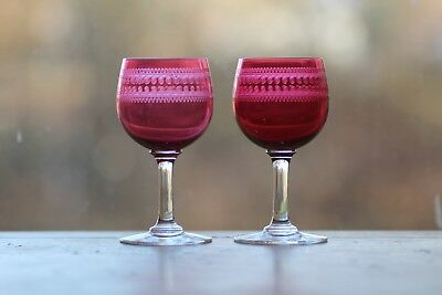 Pair English Needle Etched Cranberry Wines C.  1900