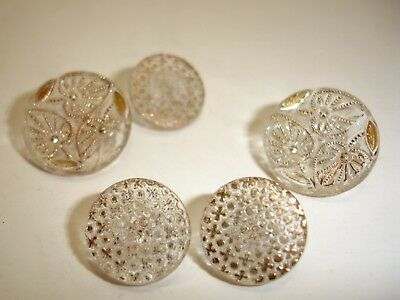 Set of 9 Antique Glass Buttons, Clear with Gold Detailing, 2 sizes B2
