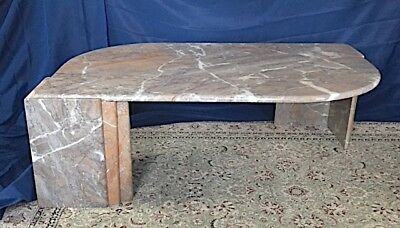 Custom Marble Coffee Table, Diagonal Pedestals  Gray, Peach, White PICKUP ONLY!