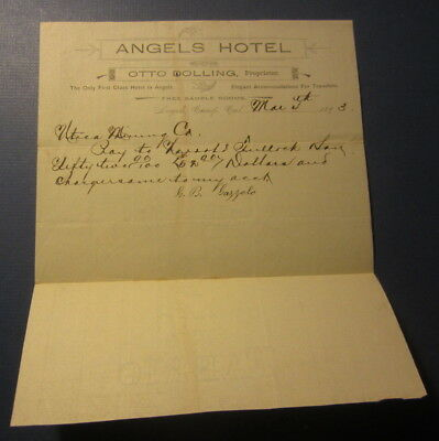 Old 1893 ANGELS HOTEL - Angels Camp CA. - Billhead Document - Otto Dolling Prop.