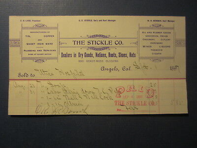 Old 1897 STICKLE CO. Dry Goods - ANGELS CA. BILLHEAD Document - Utica Hospital
