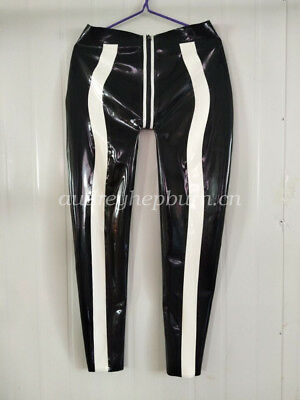 Pure Latex Rubber Men Fashion Pants Black And White Trousers Size S-XXL