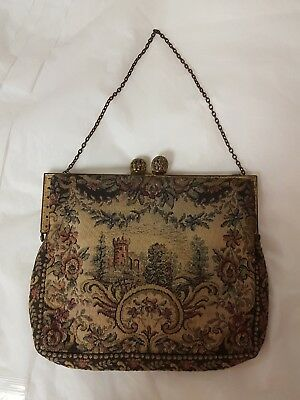 Antique Vintage French Tapestry Purse Made In France