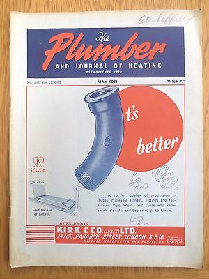 The Plumber and Journal of Heating MAY 1951 Vintage Trade Magazine Plumbing OLD