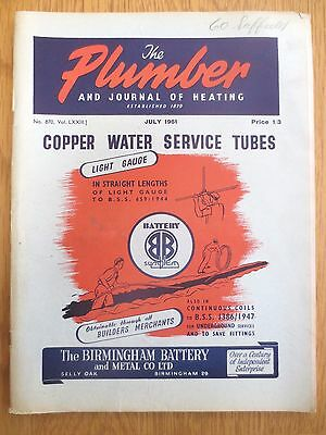 The Plumber and Journal of Heating July 1951 Vintage Trade Magazine Plumbing OLD