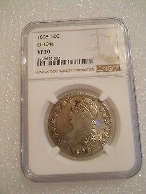 1808 Capped Bust Half Dollar, Only NGC Variety Ever of O-104a, Totally Unique!