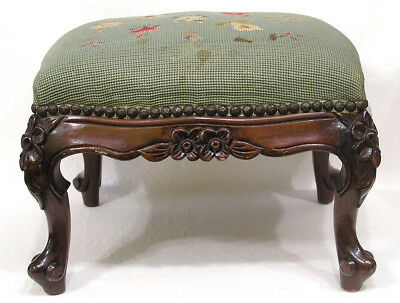 Vtg Mahogany Floral Carved and Needlework Footstool 1930s
