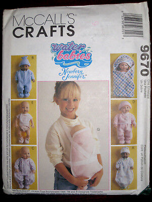 McCalls Crafts Water Babies Baby Doll Carrier Gown Hat Jacket Pattern 9670 UC