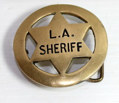 Vintage Solid Brass LA Sheriff Badge Belt Buckle vintge nice!