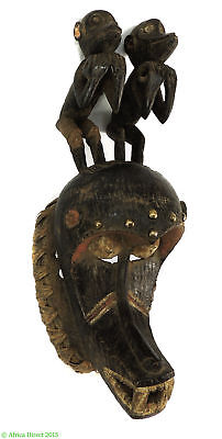 Dan or Kran Mask with Two Perched Monkeys Liberia Africa SALE WAS $990.00