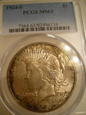 1924 S Peace Dollar MS63 PCGS, Immaculate Coin!