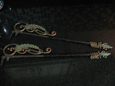 Pair of Vintage 1920s Art Deco Swing Arm Curtain Rods Poly Chrome