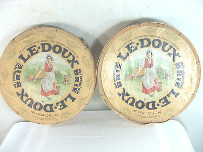 "2 Vintage Le Doux Brie 9"" Diameter  Round Bent Wood Cheese Box , Exc. Condition"