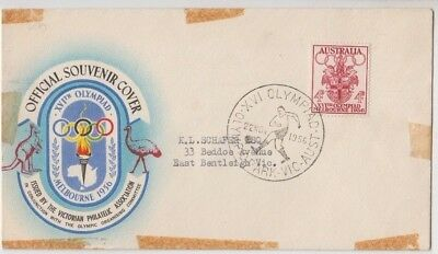 Olympic Games 1956 stamp Australia on souvenir cover football soccer postmark