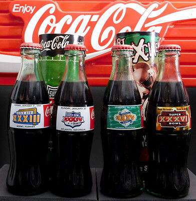 Coca-Cola Lot of 4 Various Super Bowl 8 oz. Commemorative Bottles A14