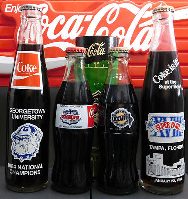 Coca-Cola Lot of 4 Various Sports 8 oz. & 10 oz. Commemorative Bottles A15