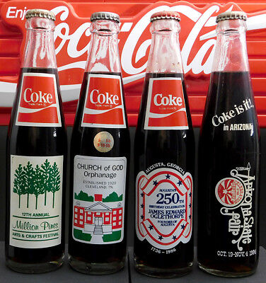 Coca-Cola Lot of 4 Various 10 oz. Commemorative Bottles A07