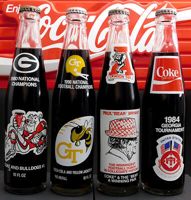 Coca-Cola Lot of 4 Various Sports 10 oz. Commemorative Bottles A12