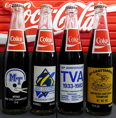Coca-Cola Lot of 4 Various Tennessee 10 oz. Commemorative Bottles A08