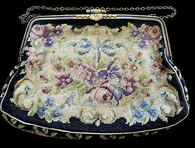 Vintage Black Petit Point Tapestry Purse with mirror Marcasite Stones on frame