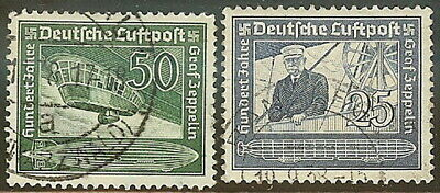 Stamp Germany Mi 669-70 Sc C59-60 1938 3rd Reich Airmail Hindenburg Used