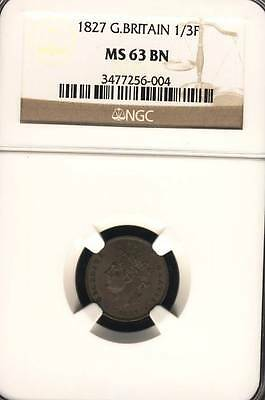 GREAT BRITAIN 1/3 FARTHING 1827 NGC CERTIFIED MS 63  BRITISH COIN (Stock# 0044)