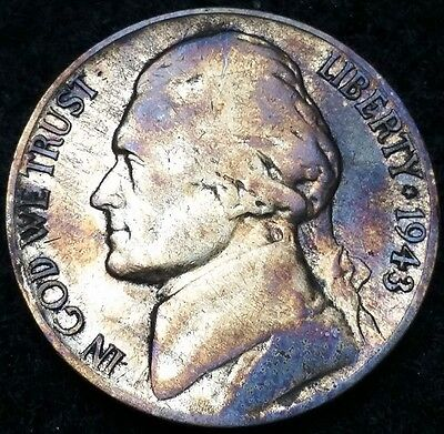 1943-P Silver Jefferson Nickel, 5 Cents **RAINBOW TONING** Free Combined S/H