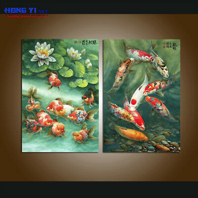 Large Modern Home Decor Print China's wind Feng Shui Fish Koi painting on Canvas