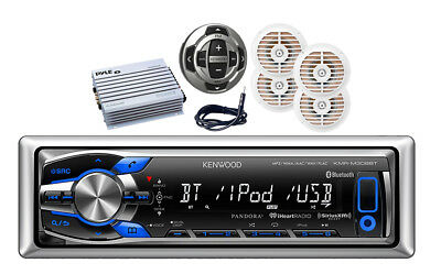 Marine Kenwood MP3  Pandora Receiver Antenna,400W Amp,4 Speakers,Wired Remote