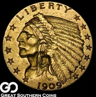 1909 Quarter Eagle, $2.5 Gold Indian ** Free Shipping!