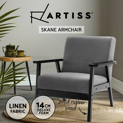 Artiss Armchair Lounge Chair Sofa Chairs Fabric/Wooden Armchairs Scandinavian