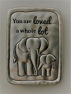 b You are loved a whole ton mother child ELEPHANT MAGNET PLAQUE ganz