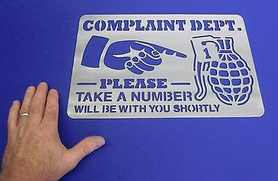 Complaint Dept Take  A # Grenade Office Man Cave Sign Art Plasma Cut 14 Ga Steel