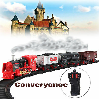 Remote Control Conveyance Car Electric Steam Smoke RC Train Set Model Toy Gift H