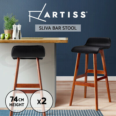 2x Bentwood Bar Stool Wooden Barstool Dining Chair Kitchen Leather Black 077