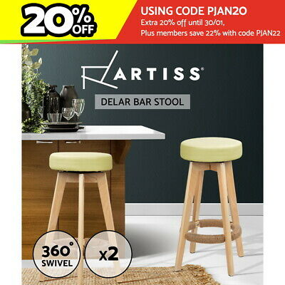 【20%OFF $87.12】Artiss Wooden Bar Stools Kitchen Bar Stool Chairs Leather Swivel