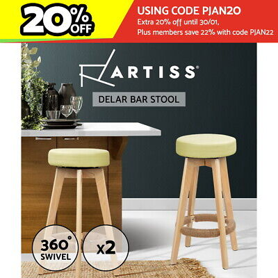 Artiss 2 x Bentwood Bar Stools Wooden Bar Stool Chairs Leather Swivel Beige